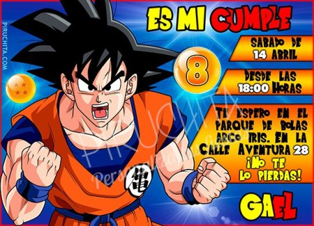 Invitación cumpleaños Dragon Ball #02 | Digital Imprimible