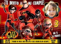 Invitación cumpleaños Los Increíbles #03 con Foto | Digital Imprimible