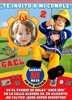 Invitación cumpleaños Sam el Bombero #02 con Foto | Digital Imprimible