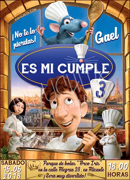 Invitación cumpleaños Ratatouille #01 | Digital Imprimible