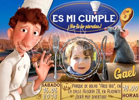 Invitación cumpleaños Ratatouille #03 con Foto | Digital Imprimible