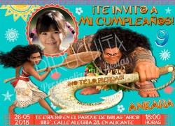 Invitación cumpleaños Vaiana (Moana) #05 con Foto  Digital Imprimible