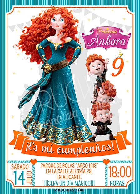 Invitación cumpleaños Mérida - Brave #01 | Digital Imprimible