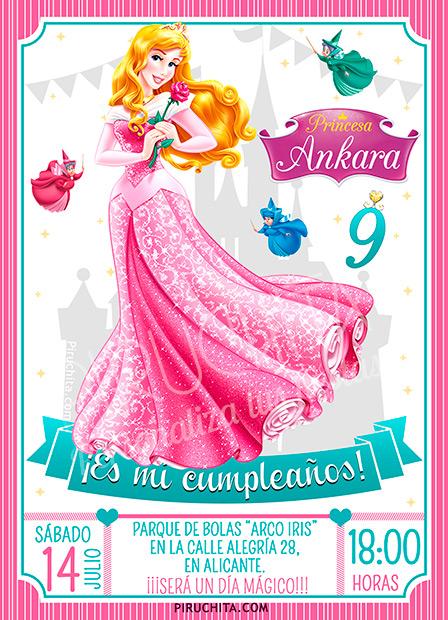 Invitación cumpleaños La Bella Durmiente - Aurora #01 | Digital Imprimible