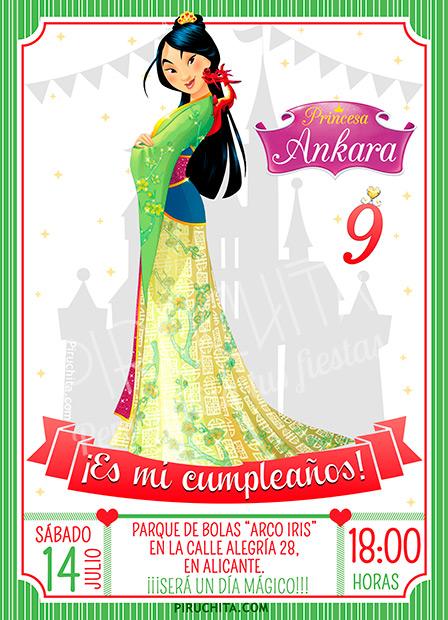 Invitación cumpleaños Mulan #01   Digital Imprimible