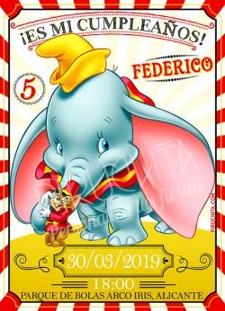 Invitación cumpleaños Dumbo #01 | Digital Imprimible