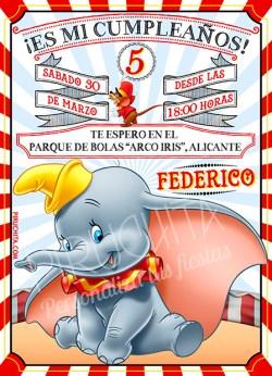 Invitación cumpleaños Dumbo #02 | Digital Imprimible