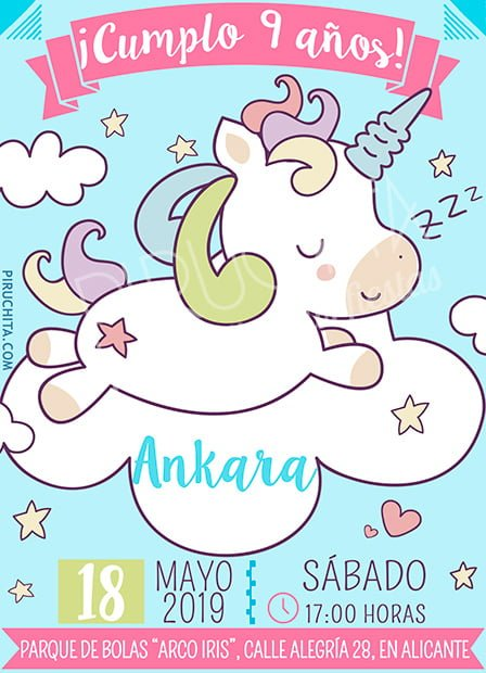 Invitación cumpleaños Unicornios #03 | Digital Imprimible