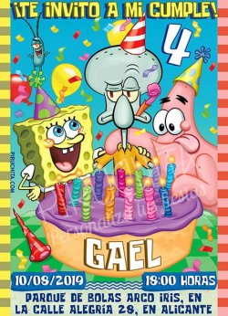 Invitación cumpleaños Bob Esponja #04 | Digital Imprimible