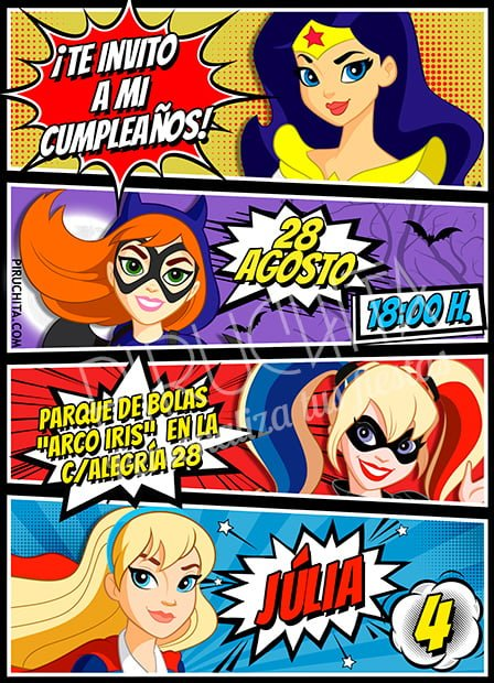 Invitación cumpleaños SuperHero Girls #04 | Digital Imprimible