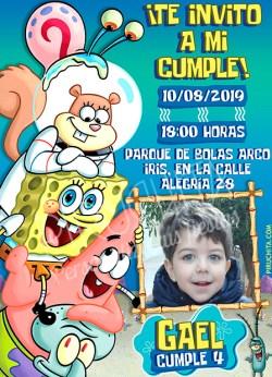 Invitación cumpleaños Bob Esponja #06 con Foto | Digital Imprimible