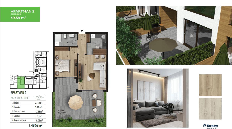 Lux jednosoban stan za prodaju u Tološima 50m2   Podgorica