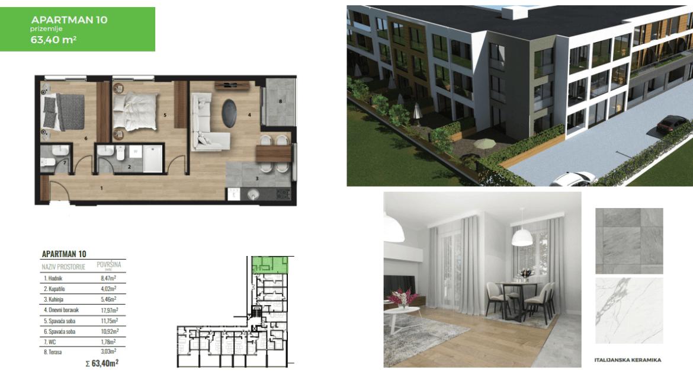 Lux jednosoban stan za prodaju u Tološima 63m2 | Podgorica