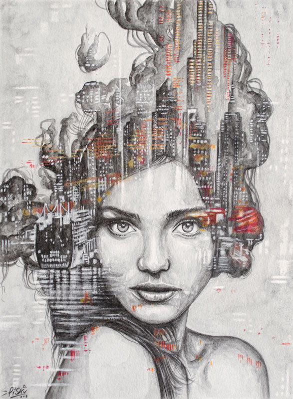 """La città che sale"" by Piskv_Watercolor on Paper_24x32cm_2018"
