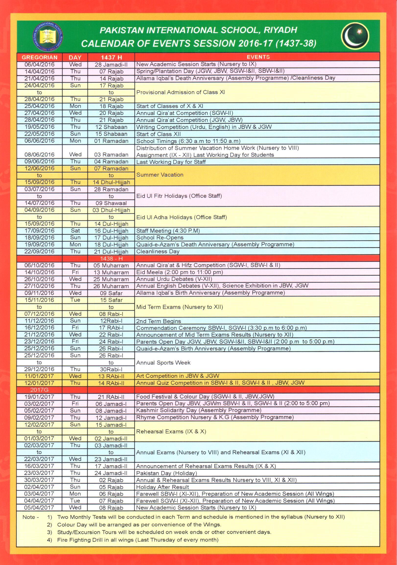 Academic Calendar Of Events
