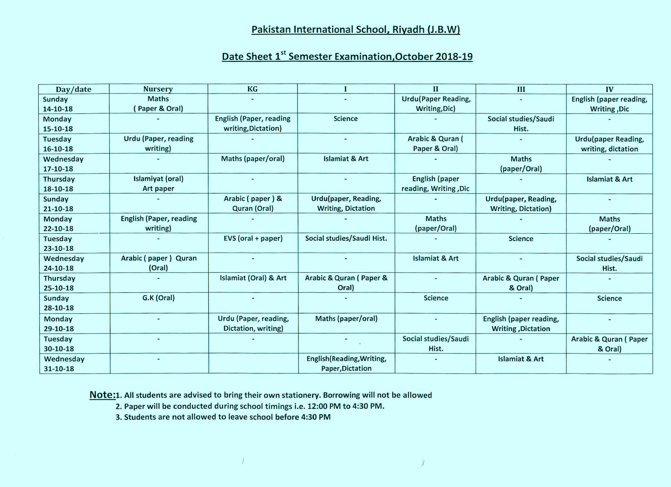 Date Sheet For First Term Examinations October
