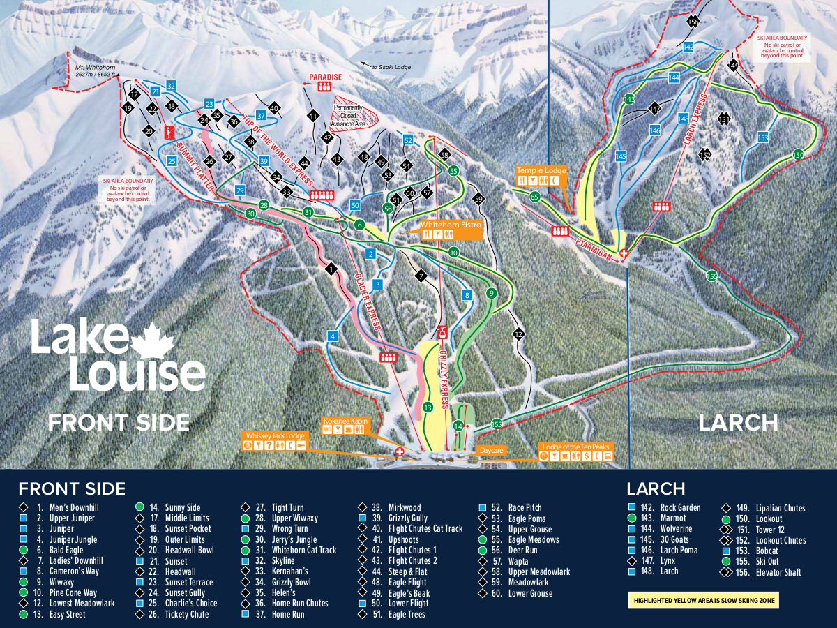 Lake Louise Canada Piste Map Free Downloadable Piste Maps