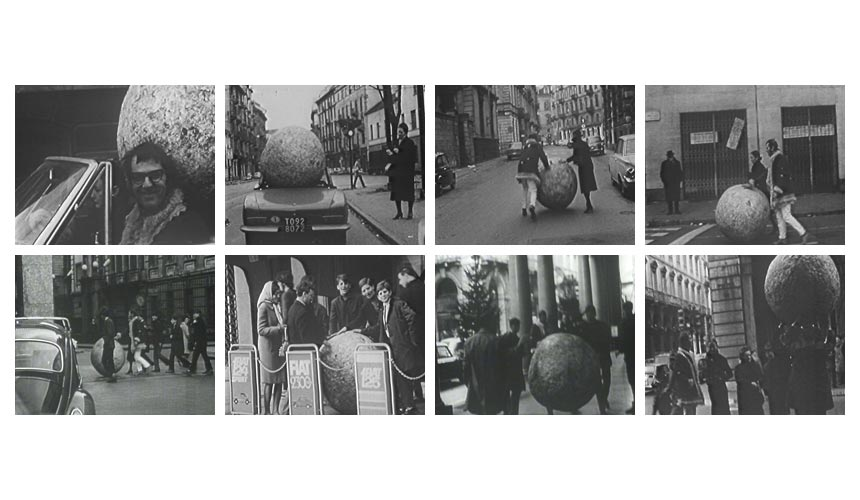 'Walking Sculpture,' 1968, Action, streets of Turin, January 1968