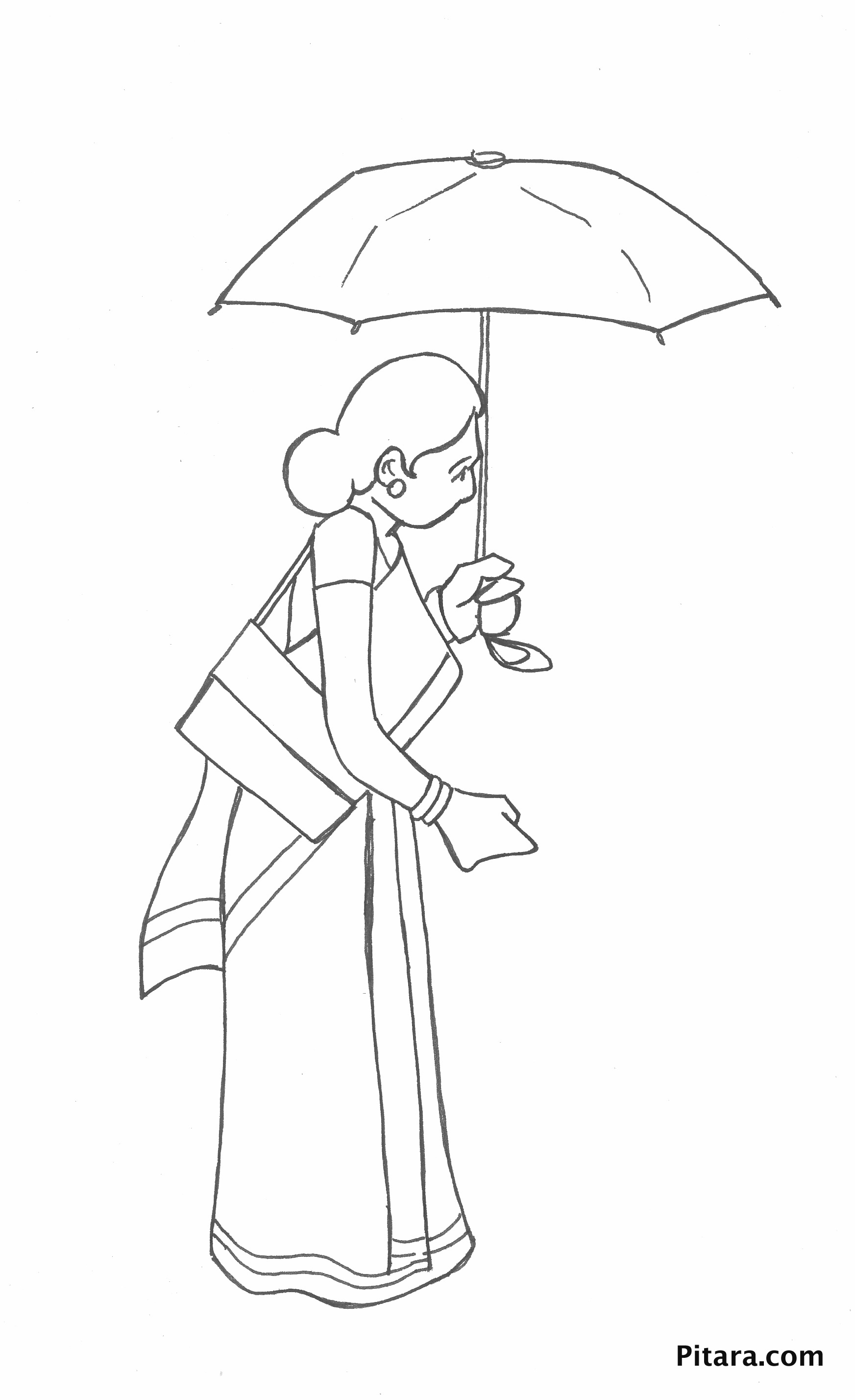 Woman With Umbrella Coloring Page