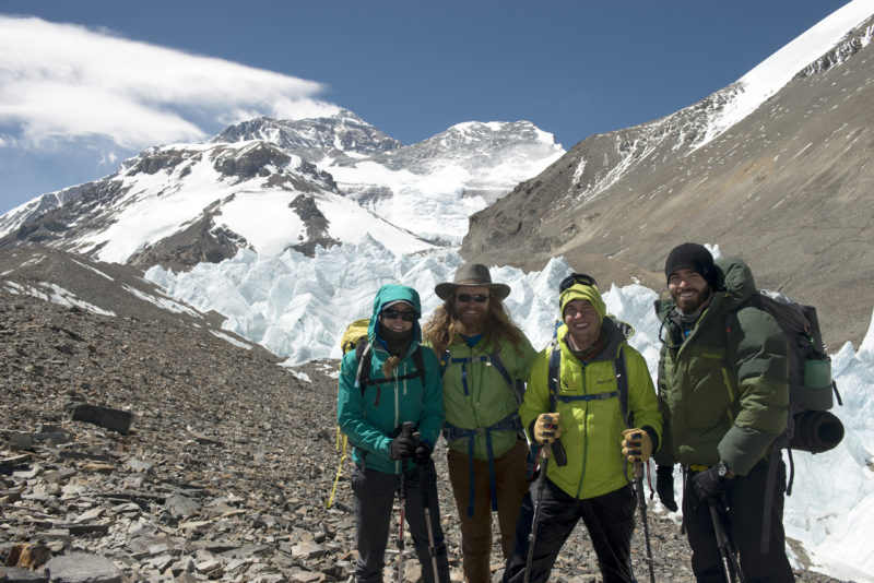 DSC_5714_Team USX nearing advanced basecamp, Everest in the distance. From the left Elyse Ping Medvigy, Chad Jukes, Harold Earls IV, Tommy Ferguson. Copyright Dave Ohlson_50percent