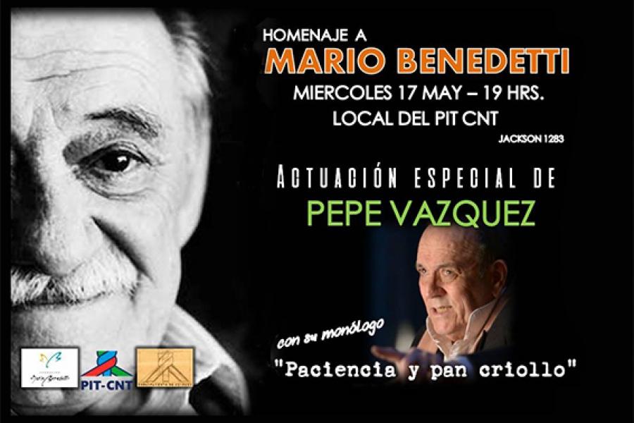 El movimiento sindical homenajea a Mario Benedetti