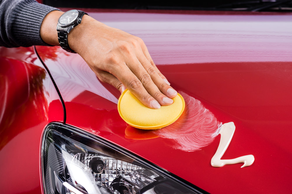Waxing and Polishing Car