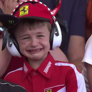 Crying Ferrari child Barcelona Grand Prix 2017