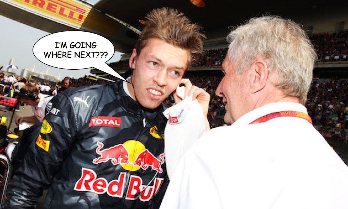 Daniil Kvyat and Helmut Marko Red Bull Formula 1