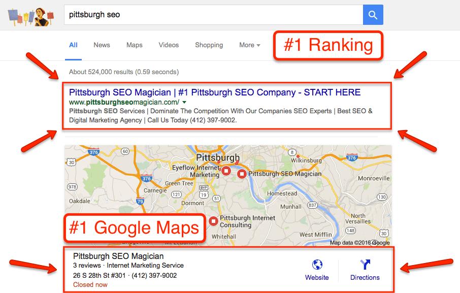 pittsburgh-seo-magician-1-google-ranking-organic-map-listing