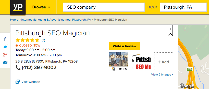 YellowPages.com - Pittsburgh SEO Magician Listing