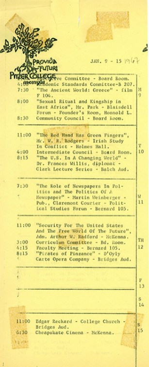 Pitzer College Events Calendar, January 9-15, 1967