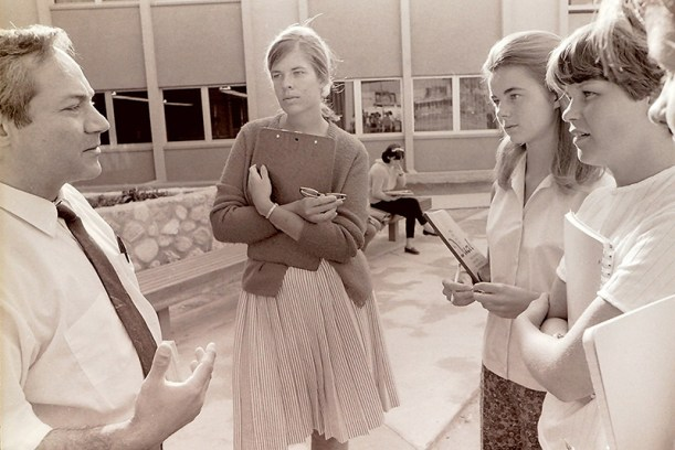 Psychology Professor Lewis Ellenhorn Talks with Students, 1968