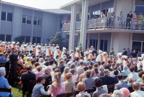 Graduates Process in Scott Hall Courtyard, 1968