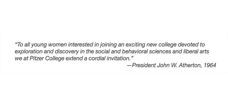Pitzer President John Atherton quote, 1964