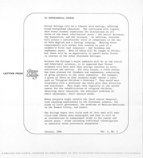 Letter from Pitzer College, Vol. 1, No. 2. January 1964