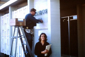Sanborn Hall Sign Installation, 1964