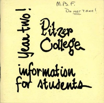 Cover of Pitzer College Information for Students... Year Two, 1965