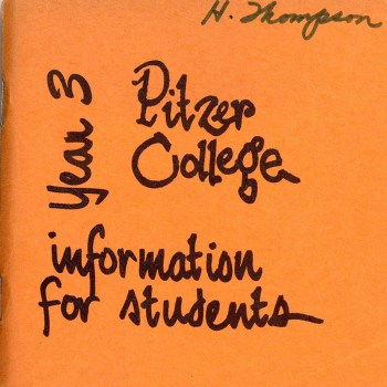 Cover of Pitzer College Information for Students… Year Three, 1966