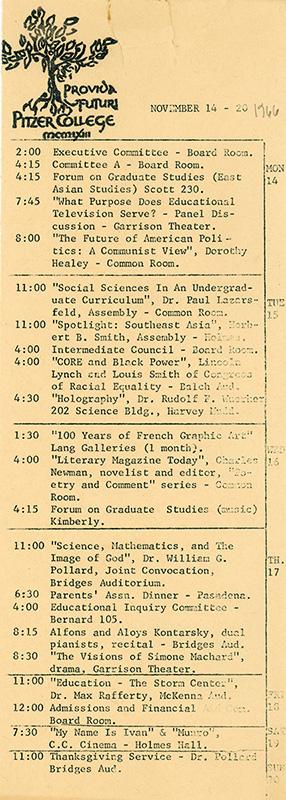 Pitzer College Events Calendar, November 14-20, 1966