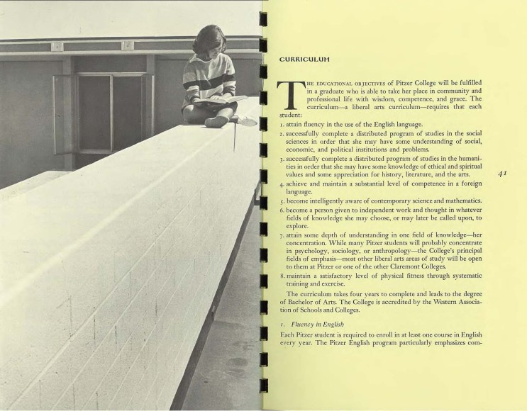 From Pitzer College Bulletin, 1965-66