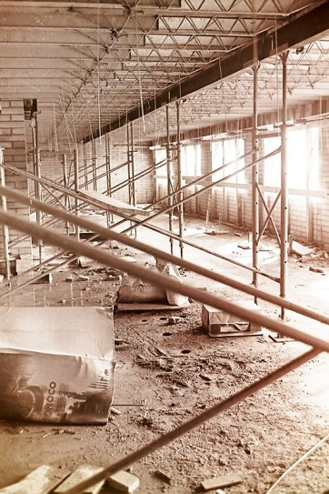 Interior of the Construction of Holden Hall, 1965