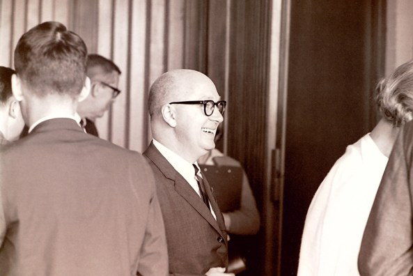 President Atherton Smiling at the First Faculty Meeting, 1964