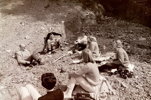 Professor Guthrie and President Atherton with Students During Retreat, 1966