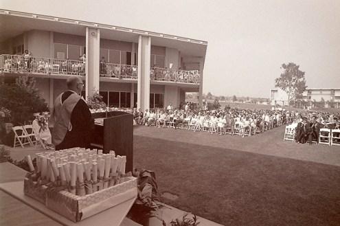 President Atherton Addressing Audience in Scott Courtyard, 1970