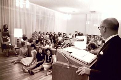 President Atherton in Sanborn Hall Living Room, 1964