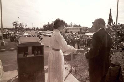 Harriett Crosby and President Atherton at Sanborn and Scott Halls Dedication, 1964