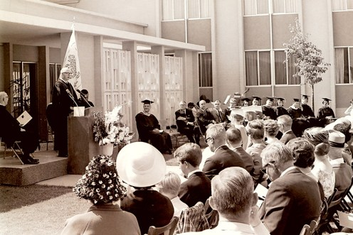 President Atherton at Sanborn Hall During First Commencement, 1965