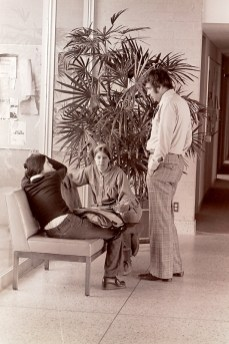 President Atwell Talking with Two Students, 1974