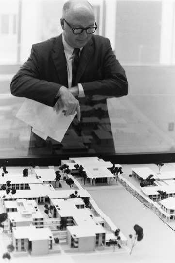 President Atherton Viewing Model of Master Plan, August 3, 1966