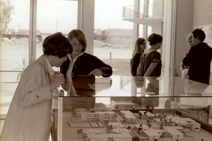 Two Students Look at Campus Model in the Scott Hall Lobby, March 11, 1967
